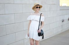 white cold shoulder dress with hat 1
