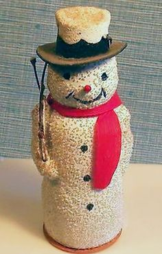 Old German Snowman Candy Container. German Christmas, Old Fashioned Christmas, Antique Christmas, Christmas Past, Vintage Christmas Ornaments, Retro Christmas, Vintage Holiday, Christmas Candy, Christmas Snowman