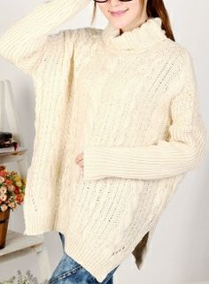 Women's Turtle Neck Cable Knit Sweater