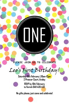 confetti, rainbow, dots, polka dots, 1st birthday party invitation, one, first, multicoloured, colours