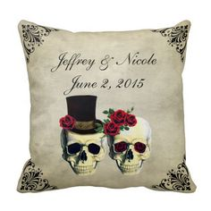 Shop Bride & Groom Skull Wedding Throw Pillow created by My_Wedding_Bliss. Skull Wedding, Gothic Wedding, Wedding Party Favors, Wedding Gifts, Skull Pillow, Couple Presents, Wedding Pillows, Sentimental Gifts, Wedding Supplies