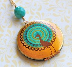 Peacock+Locket+Bohemian++Vintage+by+verabel+on+Etsy,+$38.00