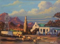 South African Contemporary and Upcoming Artist & Old Masters Art Gallery. Acrylic Paintings, Landscape Paintings, Landscapes, Upcoming Artists, South African Artists, Windmills, Artist Art, Paint Ideas, Art Drawings