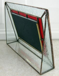 Stained Glass Picture Frame Red Border by mnflash on Etsy
