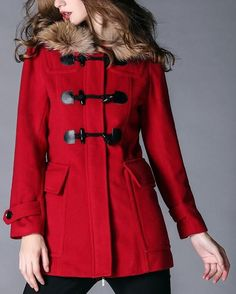 Fur-Hooded Toggle Button Wool Jacket in Red