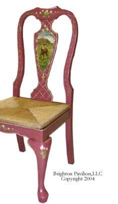 Queen Anne Side Chair-Room Serive Rose, Eggshell lining, Horse scene