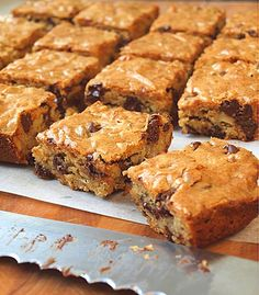 Chocolate Chip Pecan Blondies - Once Upon a Chef ~ Lots of sugar, but substituting Almond Meal for some of the flour, & Sweetener for some of the sugar will make it fairly low in carbs & calories.