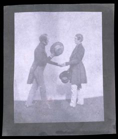 'The Handshake', mid 19th century. Calotype. (Showing two men wearing tailcoats, hat in hand, greeting one another.)