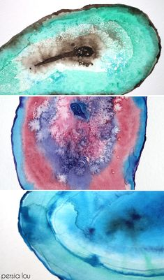 How to Paint Watercolor Agate Slices. This is one of the best tutorials I have seen on how to do this, I may even give it a try!