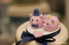cute pig and piggy Wedding Cake Topper