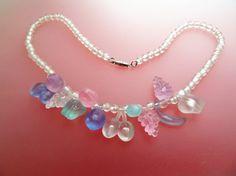 Lucite Fruit Salad Vintage Necklace in Pastel by jewelbirdvintage