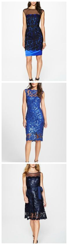 Shiny & sparkly | Love these blue party dresses.