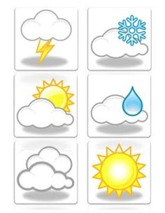 Weather Symbols Worksheets For Kids - iAppSofts Preschool Education, Preschool Learning, Math Activities, Preschool Activities, Weather Symbols For Kids, Preschool Weather, Kids Planner, Classroom Calendar, Classroom Displays