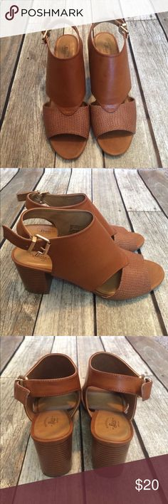 Tan sandals Great condition! Worn a handful of times. Bass Shoes Heels