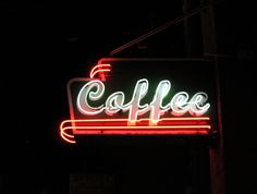 Neon 'Coffee' sign at Stumptown Coffee Roasters in Belmont