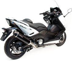 Un Yamaha Tmax 530 équipé de la ligne d'échappement Leovince Nero. Sportif !