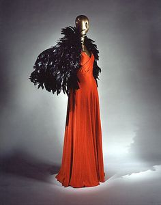 Vionnet silk evening dress with feather cape, 1932