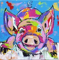 Varkens schilderijen Farm Paintings, Funny Paintings, Happy Paintings, Cross Paintings, Colorful Animal Paintings, The Art Sherpa, 4th Grade Art, Pig Art, Art Journal Inspiration