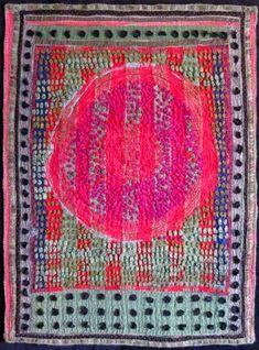 "Canadian Pioneer , 48"" w x 64"" h, re purposed wool blankets, wool fabrics, wool yarns hand pieced, slashed, mended, bundle-tie..."