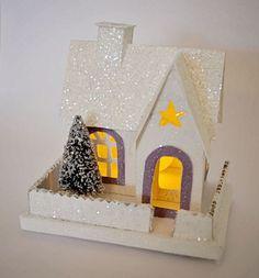 Putz Christmas Glitter House Decoration Ornament Holiday Decor Christmas Tree