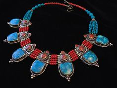 N9201 - Vintage Style Tibetan Coral & Turquoise Statement Necklace - Ethnic Statement Boho Tribal Necklace