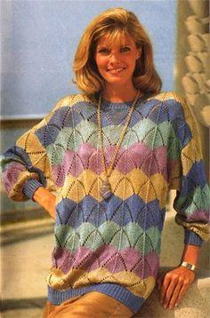 Вязание спицами - модель, схема женского пуловера из шелковых ниток   Источник: