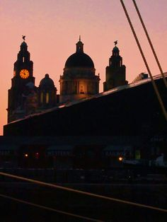 Liver Buildings and Liverpool Museum at Sunset