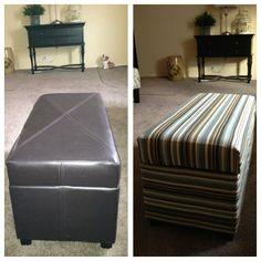 This is a small fakey leather Ottoman from Target.  Instead of getting rid of it I recovered this with fabric from Joann's fabrics and only cost $18.  I removed the hardware and staple gunned the fabric on and reattached the hardware.  It looks great as a coffee table.
