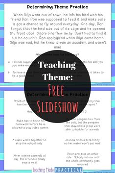 Use this free slideshow to help teach theme to your grade, grade, and - hashtags} 6th Grade Reading, 4th Grade Writing, Fourth Grade, Third Grade, Sixth Grade, Reading Strategies, Reading Skills, Reading Classes, Help Teaching