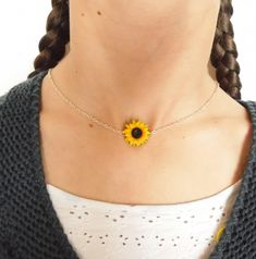 Sunflower choker sunflower necklace sunflower pendant polymer clay jewelry wedding jewellery sunflower jewelry gift for her bridesmaid jewel by SelenaJewelryBijou on Etsy