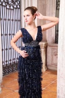 Indigo Beaded Tulle Sleeveless Deep V-neck Long #Luxury #Evening #Dress.