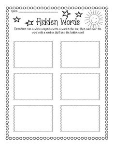 """My students are loving this """"hidden words"""" practice! It's simple: the students write a word wall word in the box using a white crayon, then they color over the word with a marker. The word appears in the color!"""