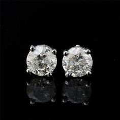 1.05ct ESTATE ROUND BRILLIANT CUT GENUINE DIAMOND STUD EARRINGS 14K WHITE GOLD