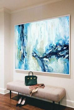 A large original abstract painting full of texture and detail. Blue acrylic painting. Size: Custom sizes available. ☑ FREE WORLDWIDE SHIPPING ☑ ORIGINAL AND ONE OF A KIND ☑ 14 DAY RETURNS ☑ ☆☆☆☆☆ 5 STAR REVIEWS ☑ SHIPPED ROLLED IN A TUBE <If you would like it stretched and ready