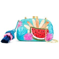 Serpui Embroidered Detail Clutch featuring polyvore, women's fashion, bags, handbags, clutches, blue, chain strap purse, blue purse, embroidery purse, straw handbags and chain handle handbags