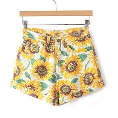 Sunflower Print High-Waisted Trendy Style Women's Denim Shorts