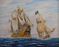 Pirate ship attacking a Spanish Galleon