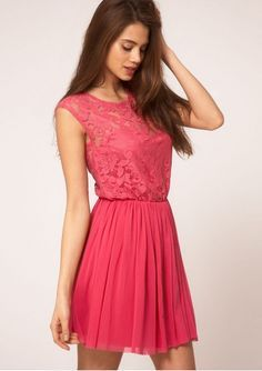 Elegant Spitze Kurz U Ausschnitt Festliche Kleider zur Hochzeit Pinkes Kleid,  Rotes Kleid, Festliche e81ef4c94c