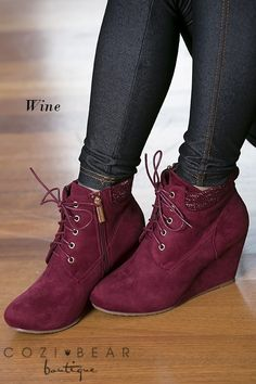 """Our new Sally Lace Up Wedges are adorable and a must have this fall/winter season!They feature an approx. 3"""" wedge heel, amazing sweater accent around the ankle and both zip and lace up to ensure a perfect fit!COLORS BlackNavyTanTaupeWineSIZES5.5, 6, 6.5, 7, 7.5, 8, 8.5, 9, 10Runs slightly small. Model wears an 8.5/9 and is wearing an 8.5 but would prefer a 9."""