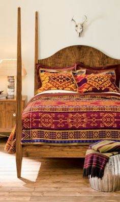 Southwestern style bedroom with Pendleton Woolen Mills: Abiquiu Sunset Blanket Collection. Southwestern Home, Southwest Decor, Southwestern Decorating, Southwest Style, Southwest Bedroom, Bedding Collections, Home Collections, Bedroom Sets, Bedroom Decor