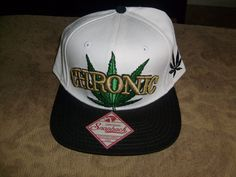 99e3e19e CHRONIC POT LEAF FLAT BILL SNAPBACK HAT CAP WHITE & GREEN SPENCER'S NEW # SPENCERS #BaseballCapTrucker