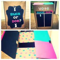 Gender reveal box I made for a party. Buck or doe instead of boy or girl themed:)