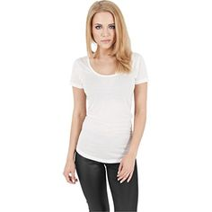 Urban Classics Damen T-Shirt Basic Viscon Tee weiß (Offwhite) Small