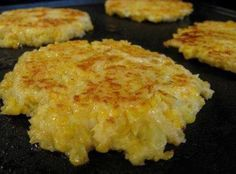 Cheesy Cauliflower Patties Recipe Maybe use almond flour or pork rinds instead of panko  and either bake or fry in coconut oil