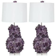 Pair of Faceted Amethyst Quartz Crystal Lamps | From a unique collection of antique and modern table lamps at https://www.1stdibs.com/furniture/lighting/table-lamps/