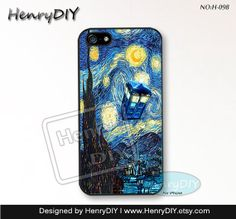 Phone Cases, iPhone 5/5S Case, iPhone 5C Case, iPhone 4/4S Case, TARDIS Doctor Who, Starry Night Phone covers, Case for iPhone~H-098