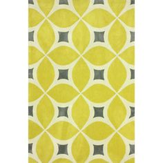 Anchor your living room seating group or define space in the den with this hand-woven rug, showcasing a yellow geometric motif for eye-catching appeal.