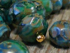 VANITY  czech glass faceted bead  turquoise  aqua  by BeadKnead, $4.75