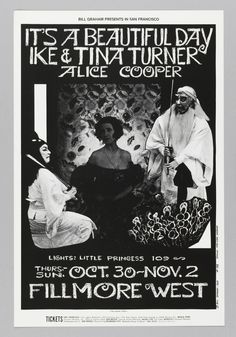 Original Vintage Bill Graham BG # Poster by Bonnie MacLean for It's A Beautiful Day, Ike & Tina Turner, Alice Cooper at Fillmore West Rock Posters, Band Posters, Music Posters, Fillmore West, Psychedelic Music, Psychedelic Posters, Hippie Posters, Vintage Concert Posters, Ike And Tina Turner
