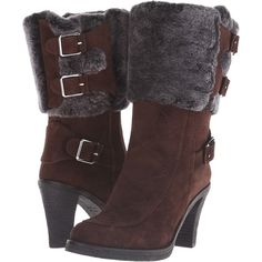 Johnston & Murphy Jeanie Buckle Bootie (Espresso Suede/Black/Gray... ($130) ❤ liked on Polyvore featuring shoes, boots, ankle booties, brown, black suede bootie, high heel ankle boots, faux suede booties, black suede booties and suede booties